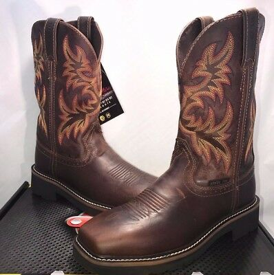 """Justin Womens Size 8 Work Rugged Tan Stampede 11"""" Steel Toe Pull-On Boot"""