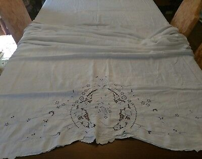 """Early 1900s hand embroidery butterflies soft linen flat bed sheet 66 1/2"""" by 99"""""""