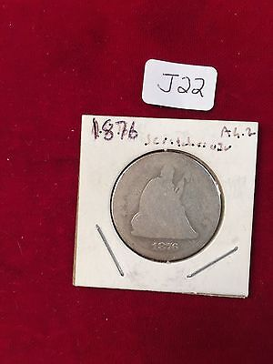 1876 Plain?  Seated Liberty Quarter WORN OUT scratches on obverse  J22