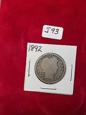 1892 Plain U.S. 90% Silver Barber Quarter Well Circulated Condition J93