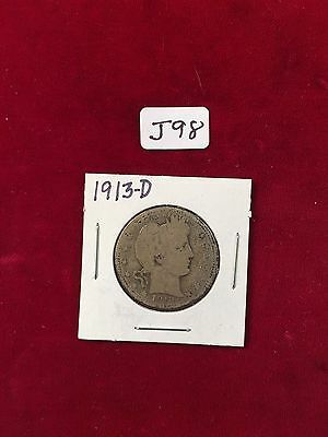 1913-D  U.S. 90% Silver Barber Quarter Well Circulated Condition J98
