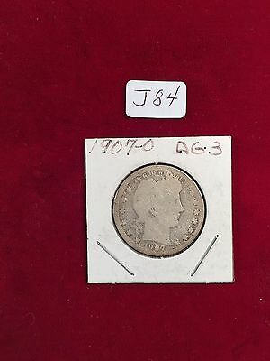 1907-O  U.S. 90% Silver Barber Quarter WELL Circulated Condition J84