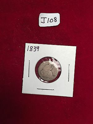 1839 Plain  Seated Half Dime Very Well Used Condition J108