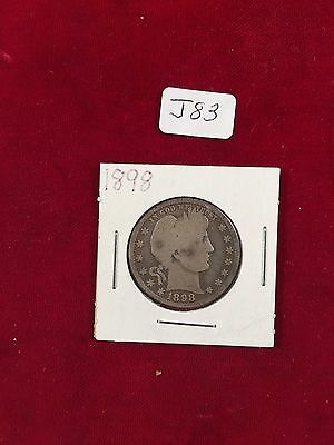 1898 Plain U.S. 90% Silver Barber Quarter Well Circulated Condition J83