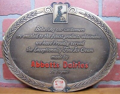 Old Abbotts Dairies Ice Cream Dairy Embossed Adv Sign Grocery Country Store