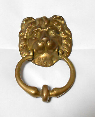 "VINTAGE LION HEAD SOLID BRASS DOOR KNOCKER - 7.5"" Long"