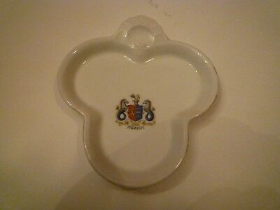 china clover leaf shaped souvenir dish with Ipswich crest
