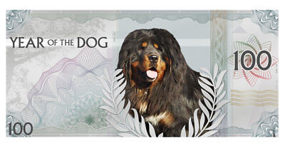 2018 Mongolia Year of Dog 5g Silver Foil Lunar Colorized Prooflike Note SKU50005