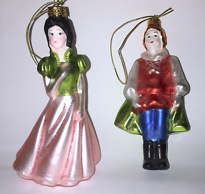Lot Of 2 Hand Blown Crafted Painted Glass Ornaments Vintage Victorian Man Woman