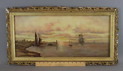 c1900 Antique Luminist Sunset Sailing Ships Maritime Seascape Oil Painting, NR