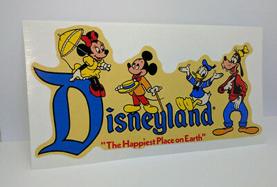Disneyland, Mickey & Donald Vintage Style Travel Decal / Vinyl Luggage Sticker