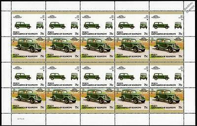 1936 FORD POPULAR Car 20-Stamp Sheet / Auto 100 Leaders of the World