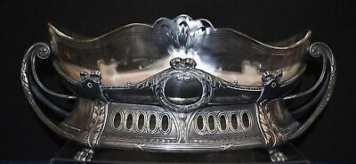 WMF Art Nouveau Jugendstil Flower Dish with Original Clear Glass Liner