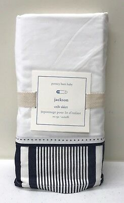 NEW Pottery Barn KIDS Jackson Stripe Nursery Crib Skirt, NAVY BLUE