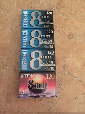 BRAND NEW 8 mm Camcorder Videotape Maxwell GX-MP and TDK MP - Lot of 4