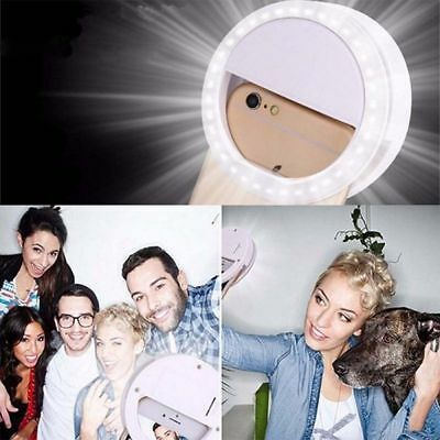 USA Selfie LED Ring Flash Camera Fill Light Clip For iPhone Andriod Phones White