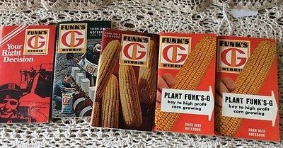 5 Funk's G Hybrid Corn Data Seed Pocket Notebooks From 60s & 70s