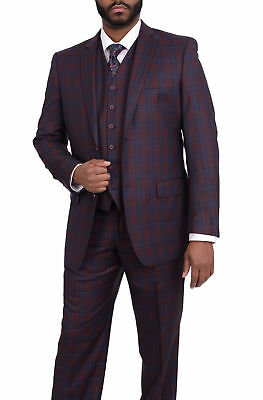 Vitali Mens Classic Fit Burgundy & Blue Plaid Two Button Three Piece Vested Suit