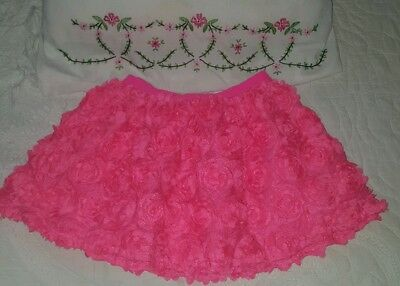 EUC Girls Size 5T Hot Pink Rose Skirt The Children's Place