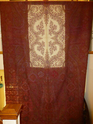 Nice Antique Paisley Wool Long Shawl with 6 Colors and white center field