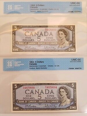 Sequence of 2 - 1954 $5 Dollars Canadian Bank Notes UNC-66