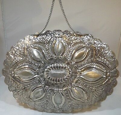 Vintage Decorative .800 Silver Oval Dresssing Mirror Of Eastern Origins