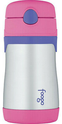 THERMOS FOOGO Vacuum Insulated 10-Ounce Straw Bottle, Pink/Purple