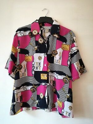 Vintage Nautical Print 80's bright shirt, Pink, Black 18 Retro, Ladies, 90's