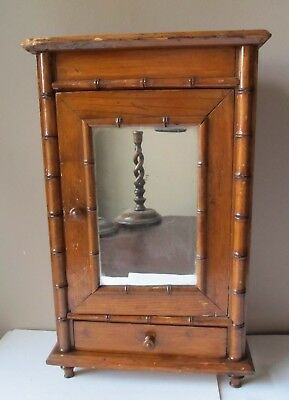 Antique BAMBOO Miniature FOOTED CUPBOARD Cabinet JEWELRY BOX Mirror DRAWER