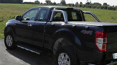 Ford Ranger T6 Super Cab Soft Roll Up Tonneau Cover Fits with OE Roll Bar
