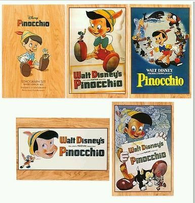 Disney Art Of Pinocchio Lithograph Set Limited Edition Le 400 Set Of 5  New