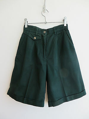 Vintage 80s green long pleated shorts/culottes, high waist, 100% cotton, 10/W25""