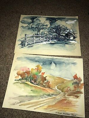 Blueridge mountain painting Gone with the wind poster artist Sid Smith LOT of 2