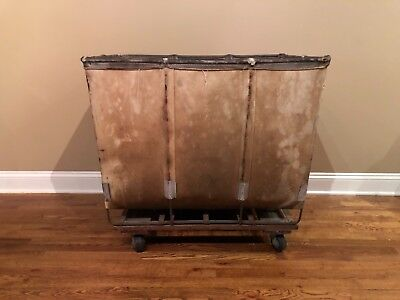 Dandux Vintage INDUSTRIAL ROLLING CART Laundry Mail Factory Steampunk Storage