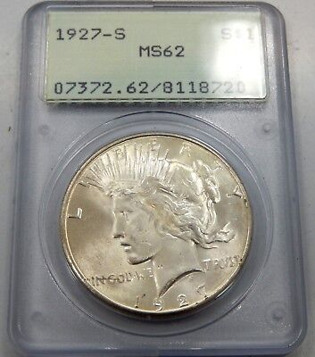 1927 S Peace Silver Dollar - PCGS Graded MS62 (Old Green Holder)
