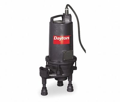 Dayton 3Bb98 Grinder Pump, 2 Hp, 3-Phase, 460 Vac, Silicone Carbide Shaft, New!