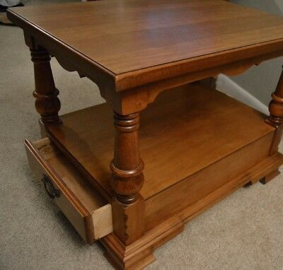 Vintage Tell City Wood Furniture Young Republic End Side Table Drawer Maple #2