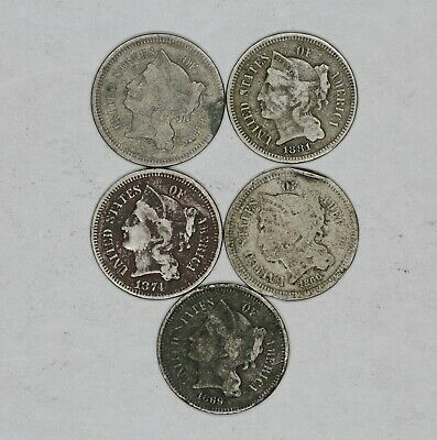 Mixed Date Three Cent Nickel 3Cn Culls Lot Of 5 Coins