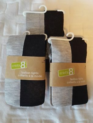 Crazy 8, Gymboree Girls Tights. Black And Gray Block Pattern Mutiple Sz's New!