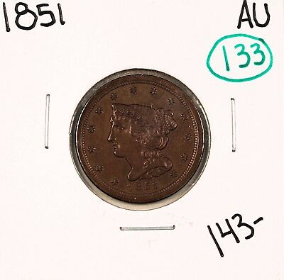 1851 Braided Hair Half Cent AU #48924