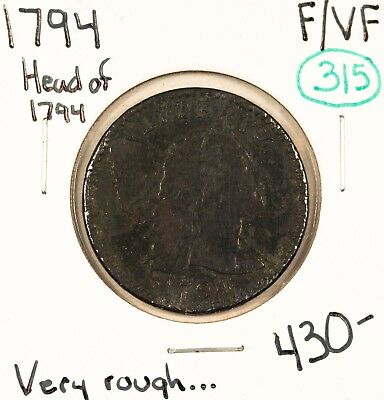 1794 Flowing Hair Large Cent F/VF #49412