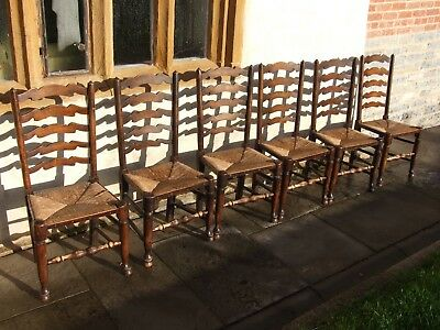 Ladder back oak dining chairs, Set of 6