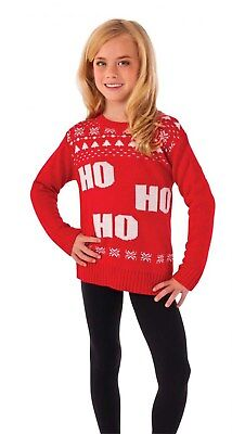 Ho Ho Ho Girls Child Christmas Red Santa Claus Holiday Sweater