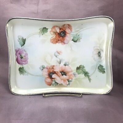 ES Prussia Prov Saxe Dresser Tray Red & Pink California Poppies