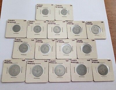 Lot of 16 Old Turkey Coins  ~ Ottoman Empire 5, 10, 20, 40 Para ~ Foreign coins