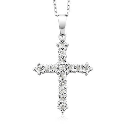 "925 Silver 18K White Gold Plated White Diamond Cross Pendant With 18"" Chain"