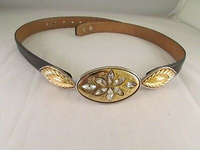 Vintage Womens Leather Belt Made Italy Gold Silver Tone Clear Rhinestones Size M