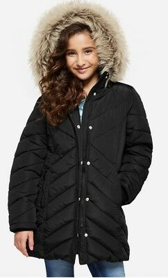 NWT JUSTICE Girls 8/10, 12/14 Black Long Heavy Weight Puffer Coat Jacket