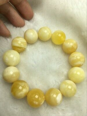 NatureWhite rice honey wax   Baltic natural amber  bracelet