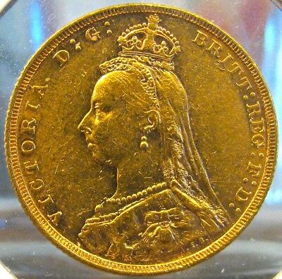 #3096 Rare Uncirc 1887-M (Melbourne) Gold UK Victoria Jubilee Full Sovereign